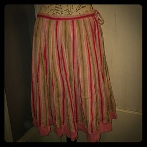 Pink & green striped Banana Republic skirt Sz 4